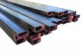 pic of pipe-welding  - Stack of steel metal pipes isolated for construction - JPG