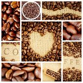 foto of coffee crop  - Heart indent in coffee beans against close up of coffee seeds - JPG