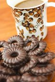 foto of biscuits  - Coffee and delicious chocolate biscuits on table closeup - JPG