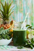 stock photo of kale  - Fresh green smoothie with kale - JPG