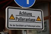 foto of bollard  - A road sign with the indication of automatic Bollard - JPG
