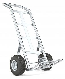 picture of hand-barrow  - Front perspective view of an empty Hand Truck - JPG