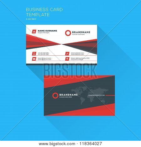Corporate business card print template personal visiting card with corporate business card print template personal visiting card with company logo clean flat design wajeb Choice Image