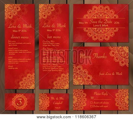 Collection Of Ethnic Cards,menu Or Wedding Invitations With Indian Ornament.