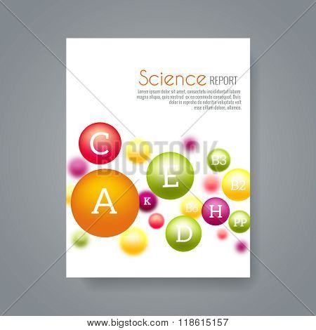 Постер, плакат: Science or medical brochure cover template with vitamins vector, холст на подрамнике