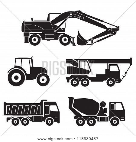 Construction trucks icon set. Concrete mixer truck, Truck crane, Dump truck, Tractor and Excavator.