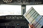 Постер, плакат: Pre flight Checklist At Flight Deck
