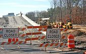 foto of road construction  - road and bridge construction site with road closed signs and heavy equipment  - JPG