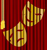 stock photo of mummer  - against the background of red theater curtain  - JPG