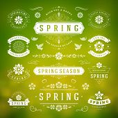 Spring Typographic Design Set. Retro and Vintage Style Templates. poster