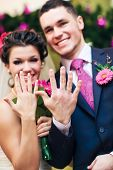 picture of wedding couple  - Young wedding couple showing their rings - JPG