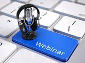 Webinar, Online Education and Training concept - Blue Webinar button with microphone and headphones poster
