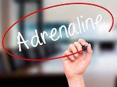 Постер, плакат: Man Hand Writing Adrenaline With Black Marker On Visual Screen