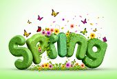 Постер, плакат: Spring 3D Rendered Text for Spring Poster Design