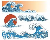 Waves in japanese style poster