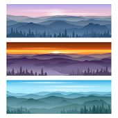 Sunrise at mountains sunset. Vector backgrounds poster