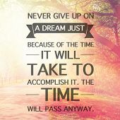 Inspirational Typographic Quote - Never give up on a dream just because of the tie it will take to a poster