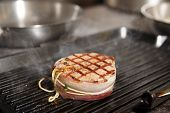 picture of chateaubriand  - Tenderloin steak with bacon on grill pan - JPG