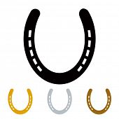 image of talisman  - silhouette lucky irish horseshoe in black gold and silver - JPG
