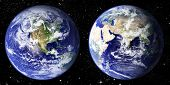 foto of eastern hemisphere  - The world seen from the west and east hemisphere set in space with litteraly millions of stars - JPG