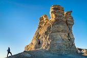 hiking rock formation at Castle Rocks in western Kansas poster