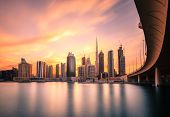 Scenic view of skyline of Dubais downtown at sunset poster