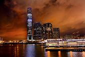 International Commerce Center Icc Building Kowloon Hong Kong Harbor At Night