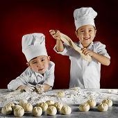 boys asians prepare from test meat dumplings