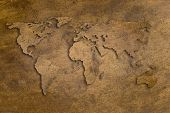 picture of dtp  - vintage copper texture with world shape and shadows - JPG