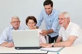 pic of 55-60 years old  - Group of senior people attending job search meeting - JPG