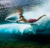 Young surfer dives under the ocean wave with surf board and performs trick named in surfing as a Duc poster