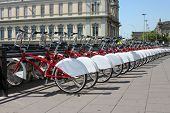 stock photo of por  - Bicycle parking in the city - JPG