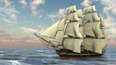 image of pirate ship  - ship in the ocean - JPG