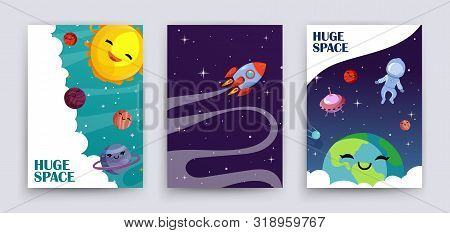 poster of Space Flyers Vector. Cartoon Planets, Universe, Galaxy Banners Template. Cute Sun, Astronaut, Earth,