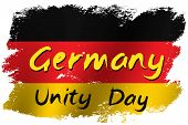 Grunge Brush Stroke With Germany National Flag. Germany National Day Background. Decorative Design E poster