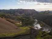 Colorful Rhyolit Mountain Panorma With Multicolored Volcanos And Geothermal Fumarole And In Landmann poster
