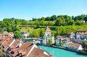 Beautiful Cityscape Of Swiss Capital Bern. Old Town Located Along Turquoise Aare River. Historical B poster