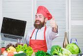 Shopping Online. Man Chef Searching Online Ingredients Cooking Food. Grocery Shop Online. Delivery S poster