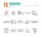 Transport Line Icon Set. Van, Car, Airplane, Helicopter, Bus. Transport Concept. Can Be Used For Top poster