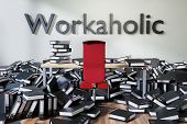 Office Workspace With Large Chaotic Pile Of Document Ring Binders Paperwork, Workaholic Conceptual 3 poster