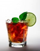 stock photo of coca-cola  - Cola glass with lime slice - JPG
