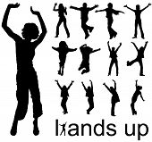 stock photo of hands up  - High quality traced hands up people silhouettes vector illustration - JPG