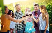 Happy Friends Having Fun Outdoor At Countryside - Young Friends Having Fun At Vineyard - Youth Frien poster