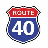 40 Route Sign Icon. Vector Road 40 Highway Interstate American Freeway Us California Route Symbol poster
