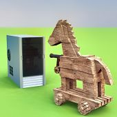 Trojan horse and computer 3d rendering poster