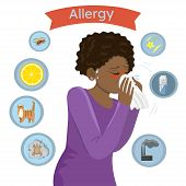 Allergy Triggers. Girl With Allergies Blows Her Nose In A Handkerchief .vector Image poster
