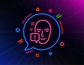 Face Attention Line Icon. Neon Laser Lights. Exclamation Mark Sign. Facial Identification Info Symbo poster