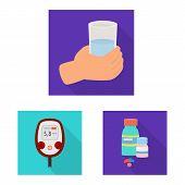 Vector Illustration Of Symptom And Disease Logo. Set Of Symptom And Treatment Stock Symbol For Web. poster