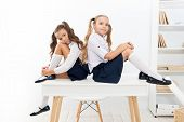 Informal And Formal Knowledge. Cute Little Schoolgirls Having Lesson On Knowledge Day. Small Childre poster