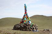 picture of bator  - Roadside Ovoo Shaman Shrine - JPG